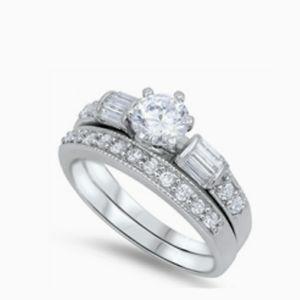 Sterling silver engagement wedding ring set